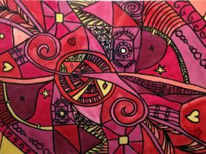 schilderij rood roze paars abstract vormen waterverf