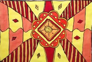 schilderij ooranje geel rood abstract vormen acrylverf