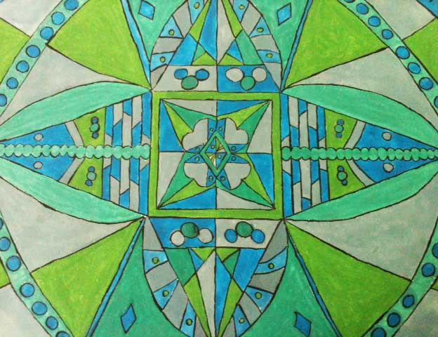 schilderij groen blauw grijs felle kleuren abstract acryl