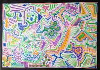 tekening vormen ruimte space kleuren felle kleuren