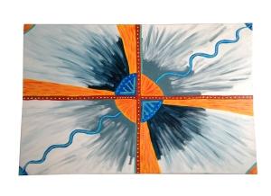 abstract schilderij oranje kruis blauw
