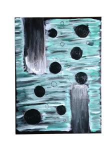 schilderij abstract groentinten zwarte cirkels
