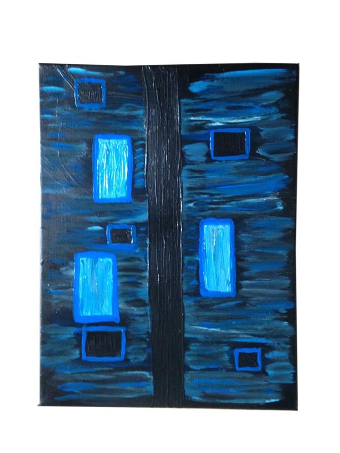 abstract schilderij blauwtinten blauw zwart