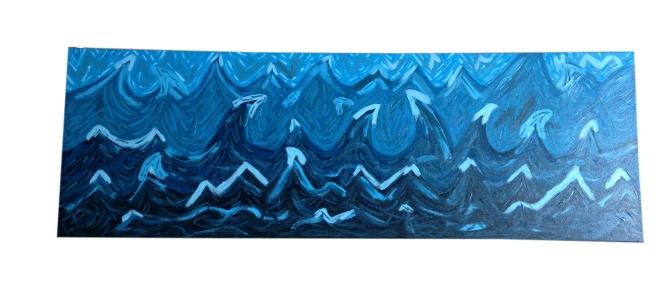 abstract schilderij een zee van blauw