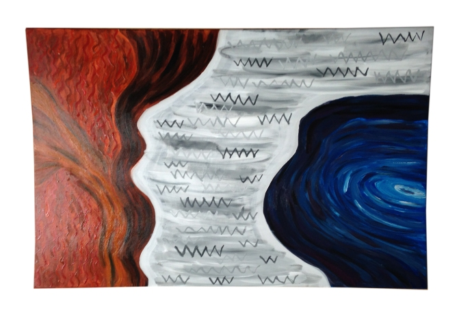 abstract schilderij rood wit blauw heelal